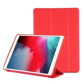 PU Plastic Bottom Case Foldable Deformation Left and Right Flip Leather Case with Three Fold Bracket & Smart Sleep for iPad Air3 2019(Red)