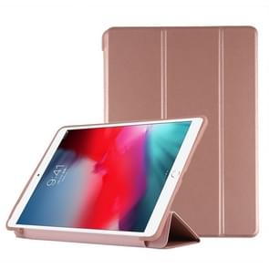 PU Plastic Bottom Case Foldable Deformation Left and Right Flip Leather Case with Three Fold Bracket & Smart Sleep for iPad Air3 2019(Rose Gold)