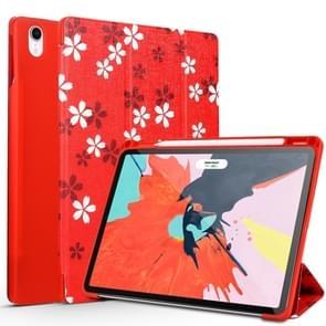 Sakura Pattern Horizontal Flip PU Leather Case for iPad Pro 11 (2018), with Three-folding Holder & Pen Slot