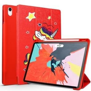 Unicorn Pattern Horizontal Flip PU Leather Case for iPad Pro 11 (2018), with Three-folding Holder & Pen Slot