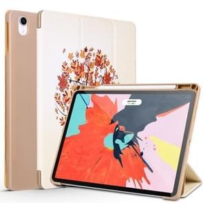 Maple Pattern Horizontal Flip PU Leather Case for iPad Pro 11 (2018), with Three-folding Holder & Pen Slot