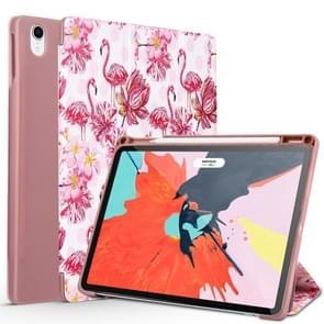 Flamingo Pattern Horizontal Flip PU Leather Case for iPad Pro 11 (2018), with Three-folding Holder & Pen Slot