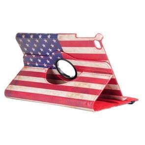 Amerikaanse vlag patroon horizontale Flip 360 graden rotatie lederen case voor iPad mini 2019  met houder & slaap/Wake-up functie
