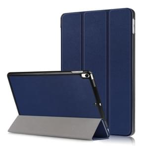 Custer Texture Horizontal Flip Leather Case for  iPad Air 2019 10.5 inch, with Three-folding Holder & Sleep / Wake-up Function (Dark Blue)
