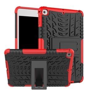 Band textuur TPU + PC schokbestendig geval voor iPad mini 2019  met houder (rood)