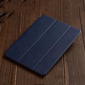 Drie-vouwen horizontale Flip lederen case voor iPad Air (2019)  met houder (marineblauw)