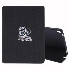 Embroidery Pattern Silk Texture Horizontal Flip Leather Case for iPad Air 2019 / Pro 10.5 inch, with Three-folding Holder & Sleep / Wake-up Function(Black)