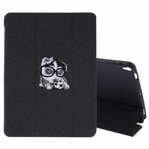 Borduurwerk patroon zijde textuur horizontale Flip lederen case voor iPad Air 2019/Pro 10 5 inch  met drie-voudige houder & slaap/Wake-up functie (zwart)