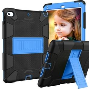 Shockproof Two-color Silicone Protection Shell for iPad Mini 2019 & 4, with Holder (Black+Blue)