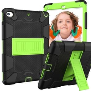 Shockproof Two-color Silicone Protection Shell for iPad Mini 2019 & 4, with Holder (Black+Yellow-green)