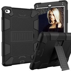 Schokbestendige tweekleurige siliconen beschermhuls voor iPad mini 2019 & 4  met houder (zwart)