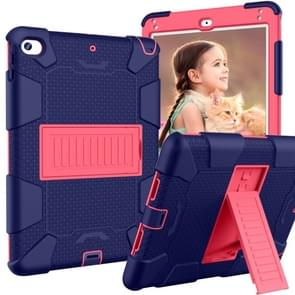 Shockproof Two-color Silicone Protection Shell for iPad Mini 2019 & 4, with Holder (Navy Blue+Rose Red)