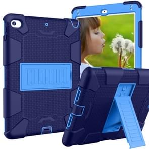 Shockproof Two-color Silicone Protection Shell for iPad Mini 2019 & 4, with Holder (Navy Blue+Blue)