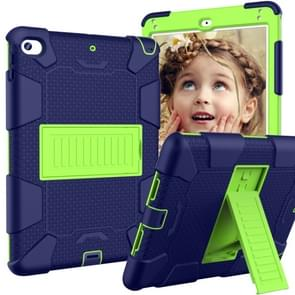 Shockproof Two-color Silicone Protection Shell for iPad Mini 2019 & 4, with Holder (Navy Blue+Yellow-green)