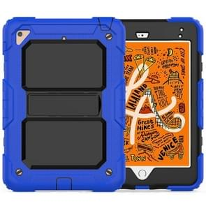 Shockproof PC + Silica Gel Protective Case for iPad Mini 2019 / Mini 4, with Holder & Shoulder Strap (Blue)