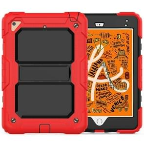 Shockproof PC + Silica Gel Protective Case for iPad Mini 2019 / Mini 4, with Holder & Shoulder Strap (Red)