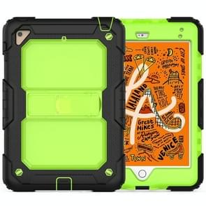Shockproof Transparent PC + Silica Gel Protective Case for iPad Mini 2019 / Mini 4, with Holder & Shoulder Strap (Green)