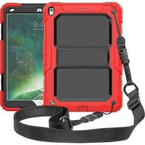 Shockproof PC + Silica Gel Protective Case for iPad Air (2019), with Holder & Shoulder Strap(Red)