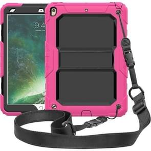 Shockproof  PC + Silica Gel Protective Case for iPad Air (2019), with Holder & Shoulder Strap(Rose Red)
