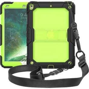 Shockproof Transparent PC + Silica Gel Protective Case for iPad Air (2019), with Holder & Shoulder Strap (Green)