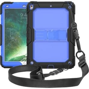 Shockproof Transparent PC + Silica Gel Protective Case for iPad Air (2019), with Holder & Shoulder Strap (Blue)