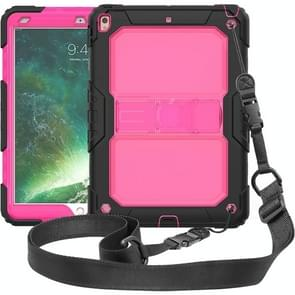 Shockproof Transparent PC + Silica Gel Protective Case for iPad Air (2019), with Holder & Shoulder Strap (Rose Red)