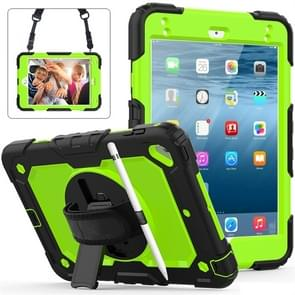 Shockproof Black Silica Gel + Colorful PC Protective Case for iPad Mini 2019 / Mini 4, with Holder & Shoulder Strap & Hand Strap & Pen Slot (Green)