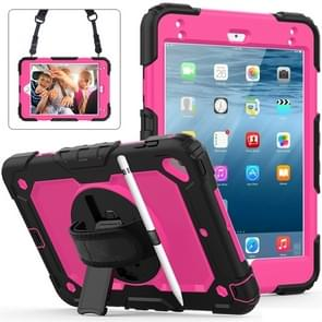 Shockproof Black Silica Gel + Colorful PC Protective Case for iPad Mini 2019 / Mini 4, with Holder & Shoulder Strap & Hand Strap & Pen Slot (Rose Red)