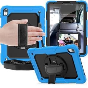 Schokbestendige kleurrijke silicagel + PC beschermende case voor iPad Pro 11 inch (2018)  met houder & schouderriem & hand riem & pen sleuf (baby blauw)