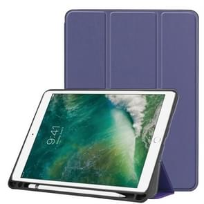 Custer Texture Horizontal Flip Leather Case for iPad Pro 10.5 Inch / iPad Air (2019), with Three-folding Holder & Pen Slot (Dark Blue)