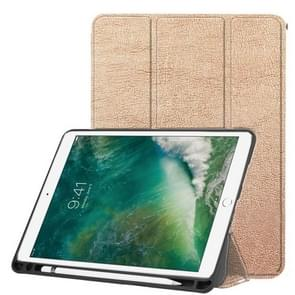 Custer Texture Horizontal Flip Leather Case for iPad Pro 10.5 Inch / iPad Air (2019), with Three-folding Holder & Pen Slot (Gold)