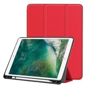 Custer textuur horizontale Flip lederen case voor iPad Pro 10 5 inch/iPad Air (2019)  met drie-opklapbare houder & Pensleuf (rood)
