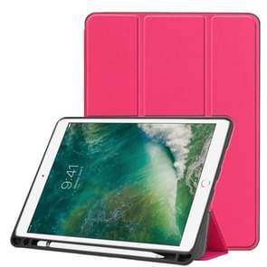 Custer Texture Horizontal Flip Leather Case for iPad Pro 10.5 Inch / iPad Air (2019), with Three-folding Holder & Pen Slot (Rose Red)