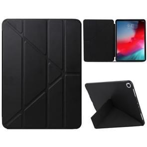 Millet textuur PU + silica gel volledige lederen case voor de iPad Air (2019)/iPad Pro 10 5 inch  met multi-vouwen houder (zwart)