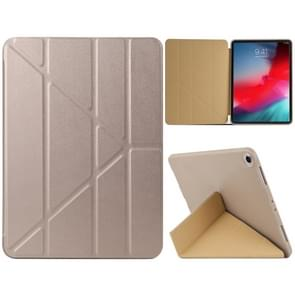 Millet Texture PU+ Silica Gel Full Coverage Leather Case for iPad Air (2019) / iPad Pro 10.5 inch, with Multi-folding Holder(Gold)