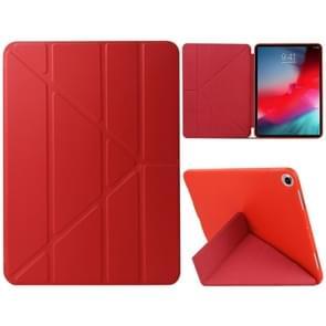 Gierst textuur PU + silica gel volledige dekking lederen draagtas voor iPad Air (2019)/iPad Pro 10 5 inch  met multi-vouwen houder (rood)