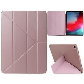 Millet Texture PU+ Silica Gel Full Coverage Leather Case for iPad Air (2019) / iPad Pro 10.5 inch, with Multi-folding Holder(Rose Gold)