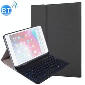 RK405D For iPad mini 5 / 4 Backlight Version Silk Texture Detachable Plastic Bluetooth Keyboard Leather Cover with Stand & Pen Slot Function(Black)