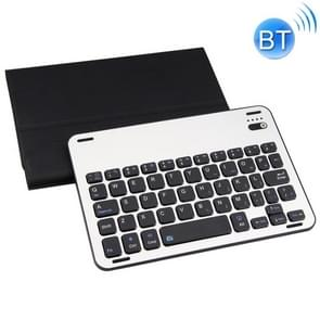 FT1008 For iPad mini 3 / 2 / 1 Lambskin Texture Detachable Aluminum Alloy Bluetooth Keyboard Leather Cover with Stand Function (Black)