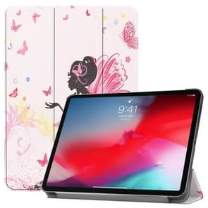 Horizontal Flip Butterfly Fairy Girl Pattern Colored Painted Leather Case for iPad Pro 11 inch (2018), with Three-folding Holder & Wake-up / Sleep Function