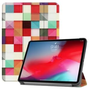 Horizontal Flip Magic Cube Pattern Colored Painted Leather Case for iPad Pro 11 inch (2018), with Three-folding Holder & Wake-up / Sleep Function
