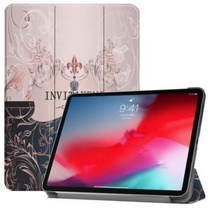 Horizontal Flip French Flower Texture Pattern Colored Painted Leather Case for iPad Pro 11 inch (2018), with Three-folding Holder & Wake-up / Sleep Function