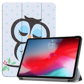 Horizontal Flip Blue Dots and Owl Pattern Colored Painted Leather Case for iPad Pro 11 inch (2018), with Three-folding Holder & Wake-up / Sleep Function