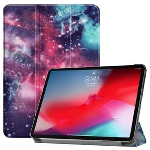 Horizontal Flip Galaxy Pattern Colored Painted Leather Case for iPad Pro 11 inch (2018), with Three-folding Holder & Wake-up / Sleep Function
