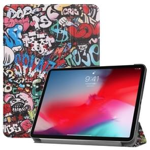 Horizontal Flip Graffiti Pattern Colored Painted Leather Case for iPad Pro 11 inch (2018), with Three-folding Holder & Wake-up / Sleep Function