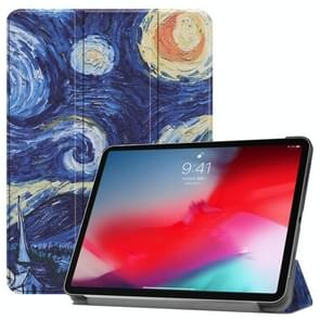 Horizontal Flip Starry Sky Pattern Colored Painted Leather Case for iPad Pro 11 inch (2018), with Three-folding Holder & Wake-up / Sleep Function