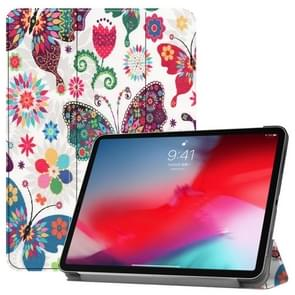 Horizontal Flip Colorful Butterflies Pattern Colored Painted Leather Case for iPad Pro 11 inch (2018), with Three-folding Holder & Wake-up / Sleep Function