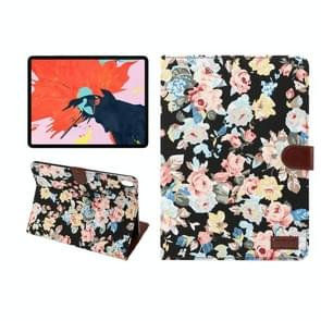Horizontal Flip Floral Cloth Leather Case for iPad Pro 11 inch (2018), with Holder & Sleep / Wake-up Function & Wallet(Black)