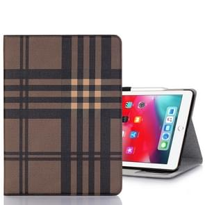 Plaid Texture Horizontal Flip PU Leather Case for iPad Pro 11 inch (2018), with Holder & Card Slots & Wallet(Coffee)
