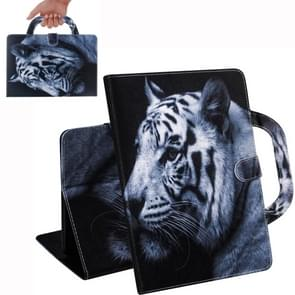 White Tiger Pattern Horizontal Flip Leather Case for iPad Mini(2019) / Mini 1 / 2 / 3 / 4, with Holder & Card Slot & Wallet